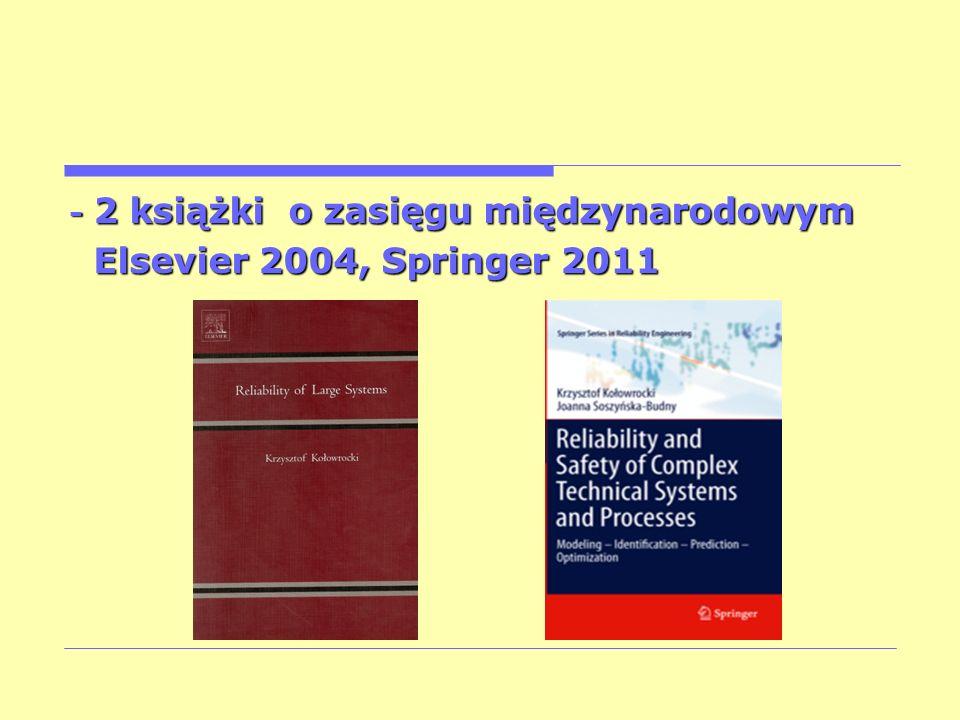 - 2 książki o zasięgu międzynarodowym Elsevier 2004, Springer 2011 Elsevier 2004, Springer 2011