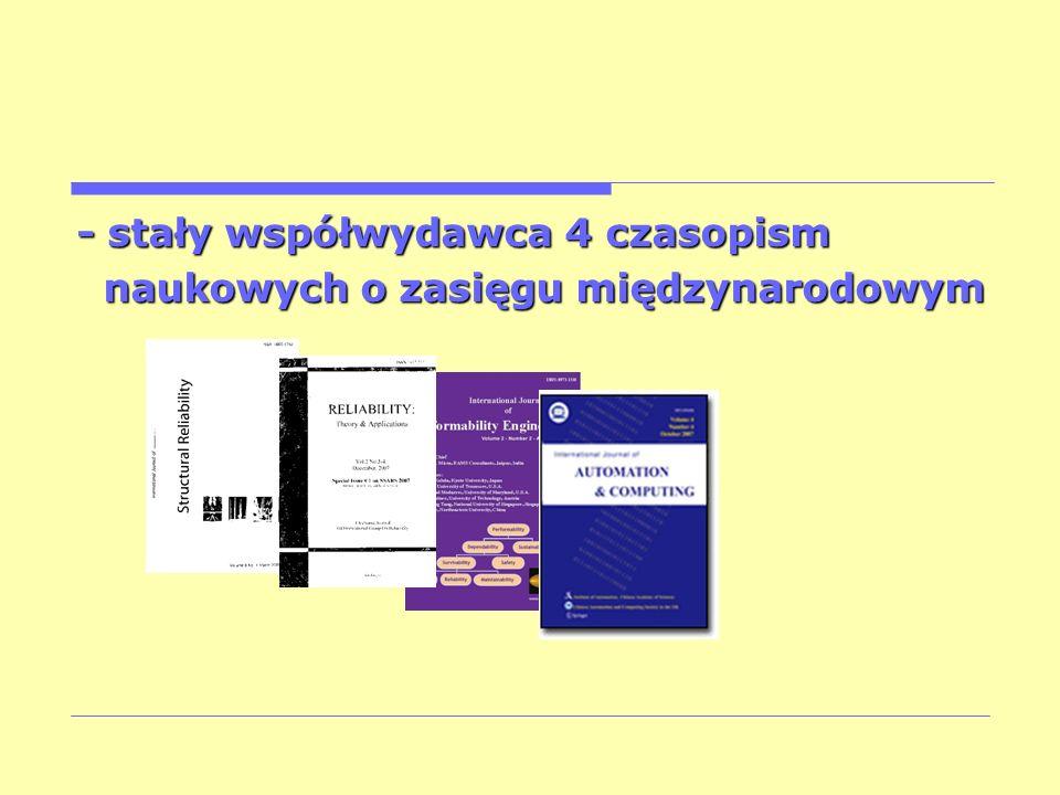- stały współwydawca 4 czasopism naukowych o zasięgu międzynarodowym naukowych o zasięgu międzynarodowym