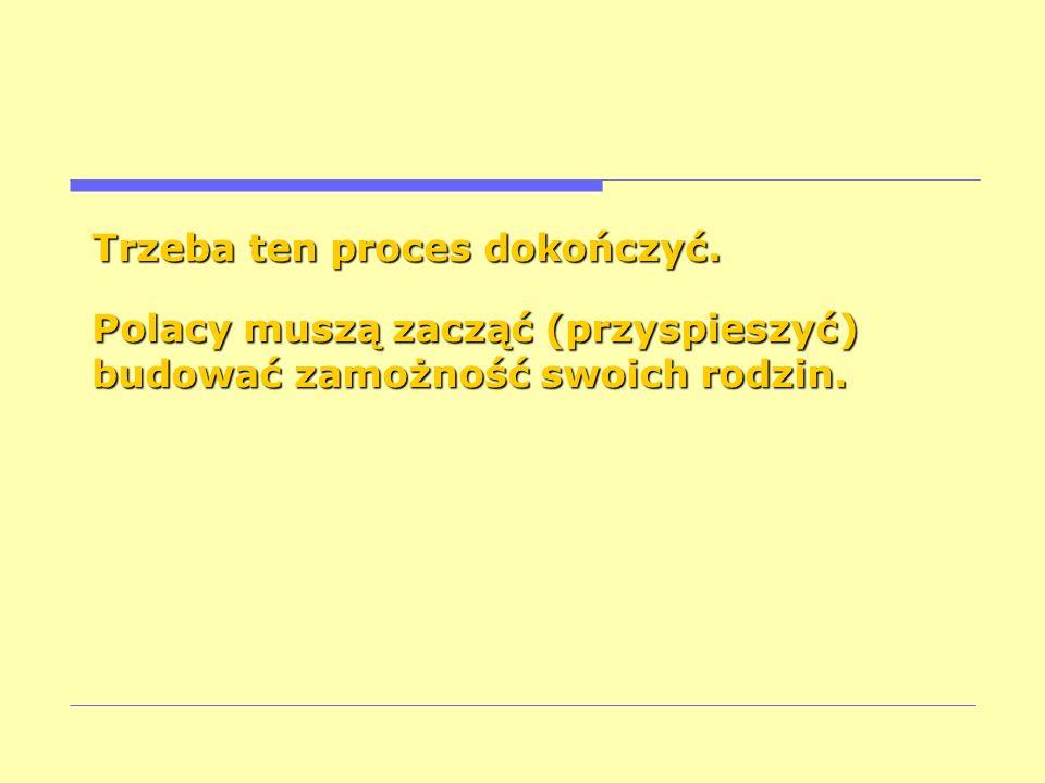 Trzeba ten proces dokończyć. Polacy muszą zacząć (przyspieszyć) budować zamożność swoich rodzin.