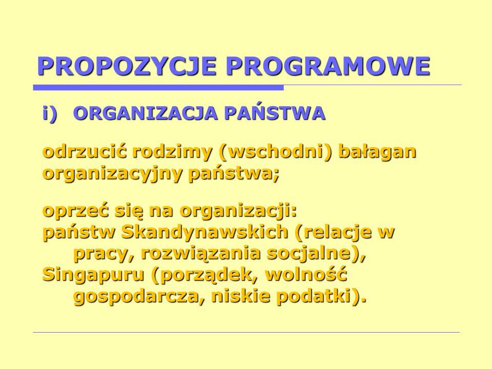 PROPOZYCJE PROGRAMOWE i)ORGANIZACJA PAŃSTWA odrzucić rodzimy (wschodni) bałagan organizacyjny państwa; oprzeć się na organizacji: państw Skandynawskic