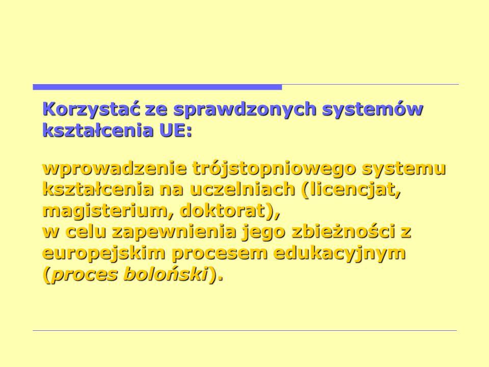 Korzystać ze sprawdzonych systemów kształcenia UE: wprowadzenie trójstopniowego systemu kształcenia na uczelniach (licencjat, magisterium, doktorat),