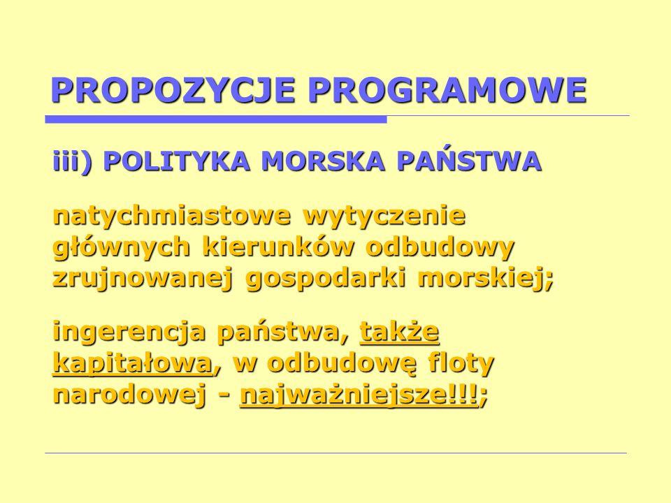PROPOZYCJE PROGRAMOWE iii) POLITYKA MORSKA PAŃSTWA natychmiastowe wytyczenie głównych kierunków odbudowy zrujnowanej gospodarki morskiej; ingerencja p