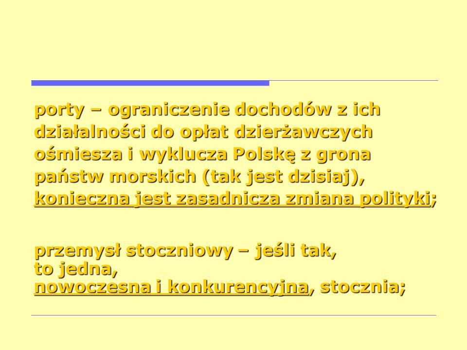 porty – ograniczenie dochodów z ich działalności do opłat dzierżawczych ośmiesza i wyklucza Polskę z grona państw morskich (tak jest dzisiaj), koniecz
