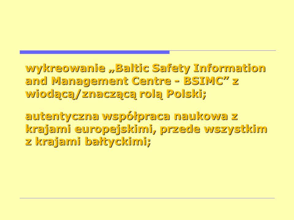wykreowanie Baltic Safety Information and Management Centre - BSIMC z wiodącą/znaczącą rolą Polski; autentyczna współpraca naukowa z krajami europejsk