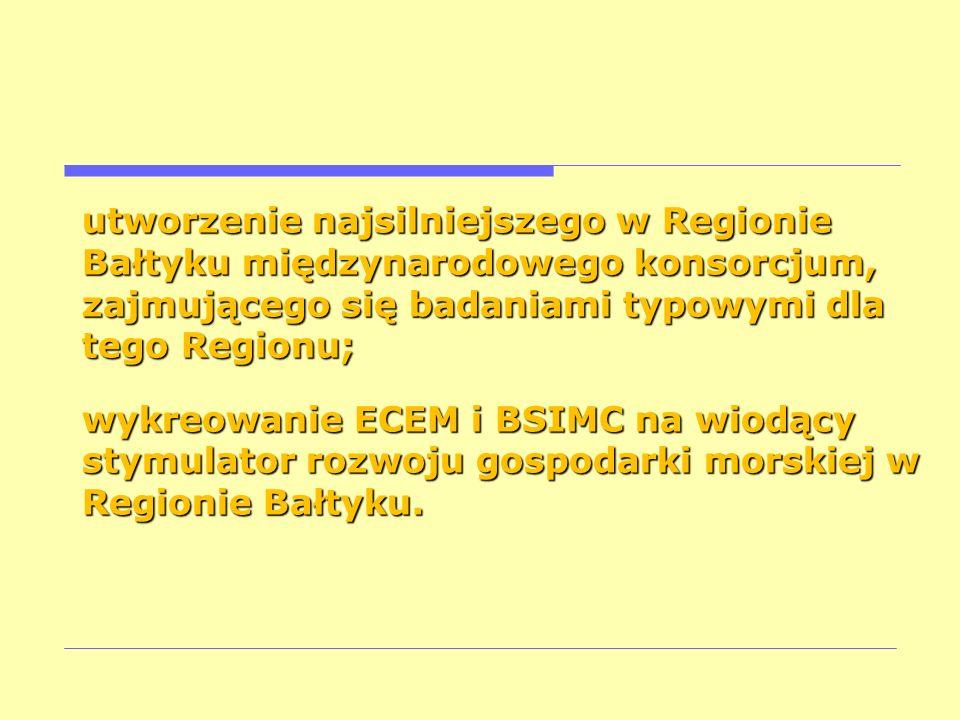 utworzenie najsilniejszego w Regionie Bałtyku międzynarodowego konsorcjum, zajmującego się badaniami typowymi dla tego Regionu; wykreowanie ECEM i BSI