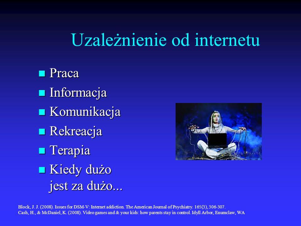 Uzależnienie od internetu Praca Praca Informacja Informacja Komunikacja Komunikacja Rekreacja Rekreacja Terapia Terapia Kiedy dużo jest za dużo... Kie