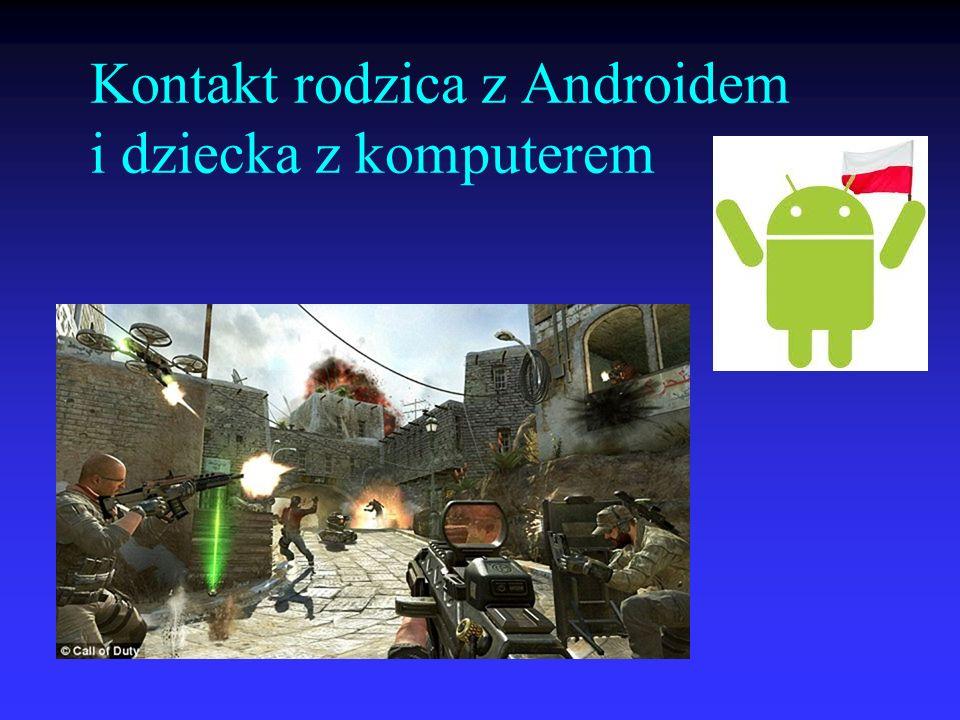 Kontakt rodzica z Androidem i dziecka z komputerem