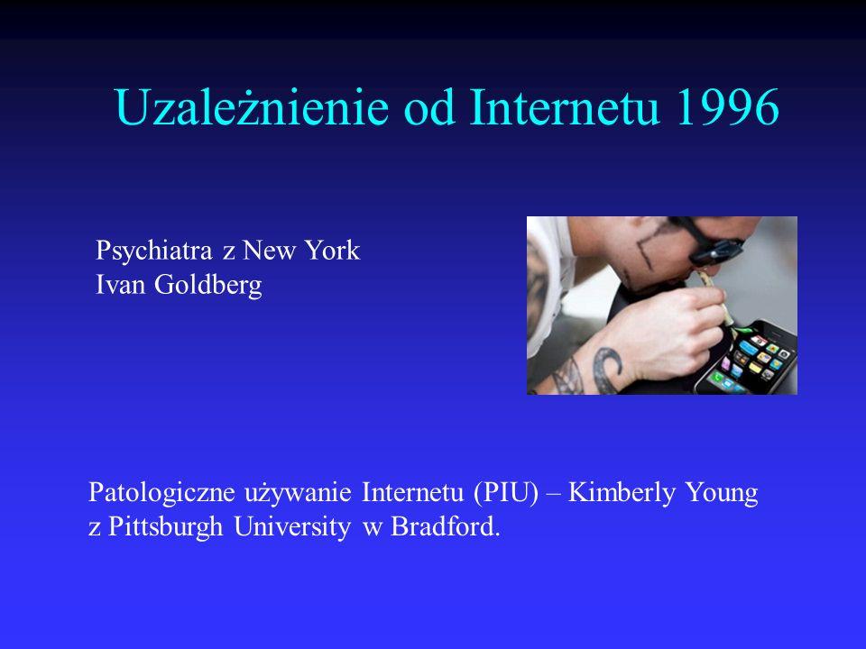 Uzależnienie od Internetu 1996 Psychiatra z New York Ivan Goldberg Patologiczne używanie Internetu (PIU) – Kimberly Young z Pittsburgh University w Br