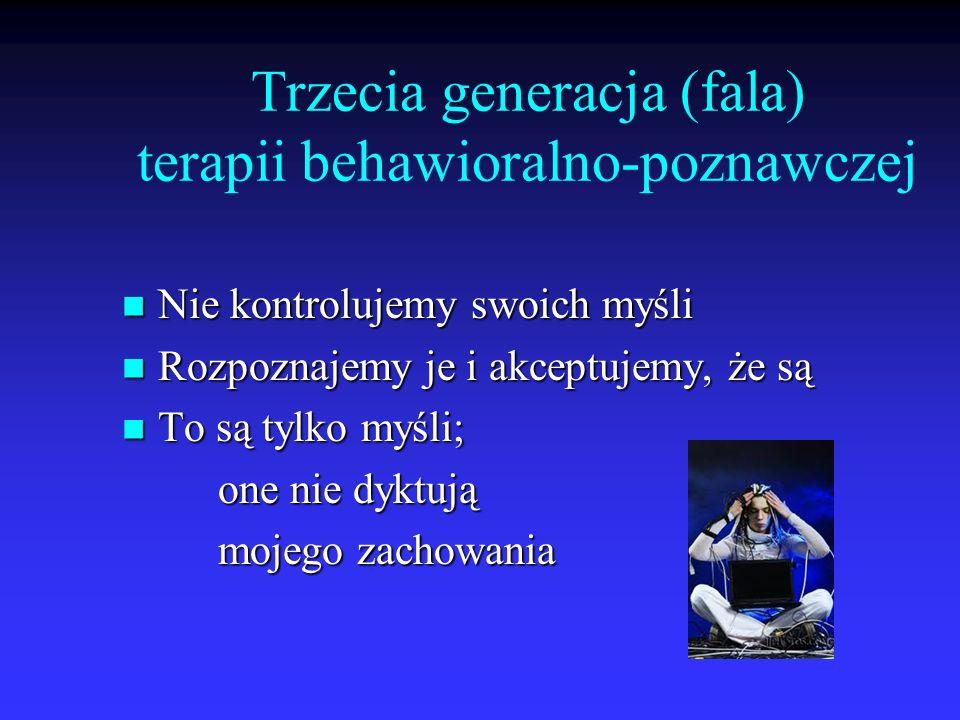 Trzecia generacja (fala) terapii behawioralno-poznawczej Nie kontrolujemy swoich myśli Nie kontrolujemy swoich myśli Rozpoznajemy je i akceptujemy, że