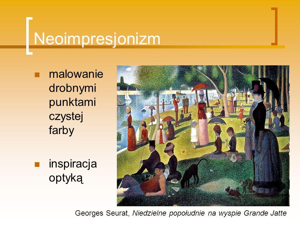 Neoimpresjonizm malowanie drobnymi punktami czystej farby inspiracja optyką Georges Seurat, Niedzielne popołudnie na wyspie Grande Jatte