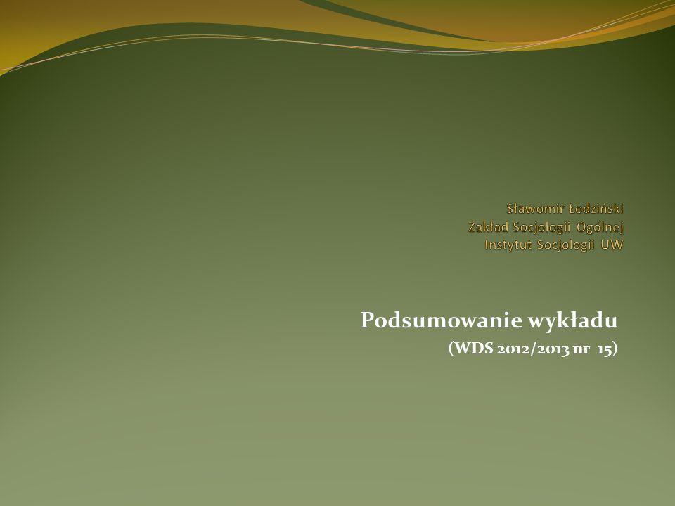 Podsumowanie wykładu (WDS 2012/2013 nr 15) 1.
