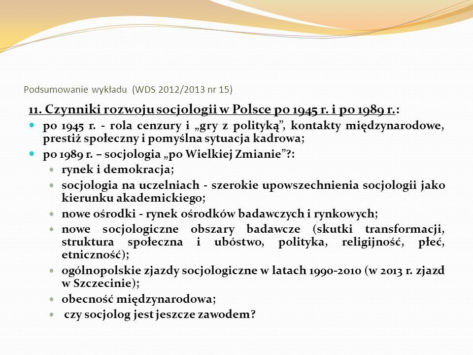 Podsumowanie wykładu (WDS 2012/2013 nr 15) 12.