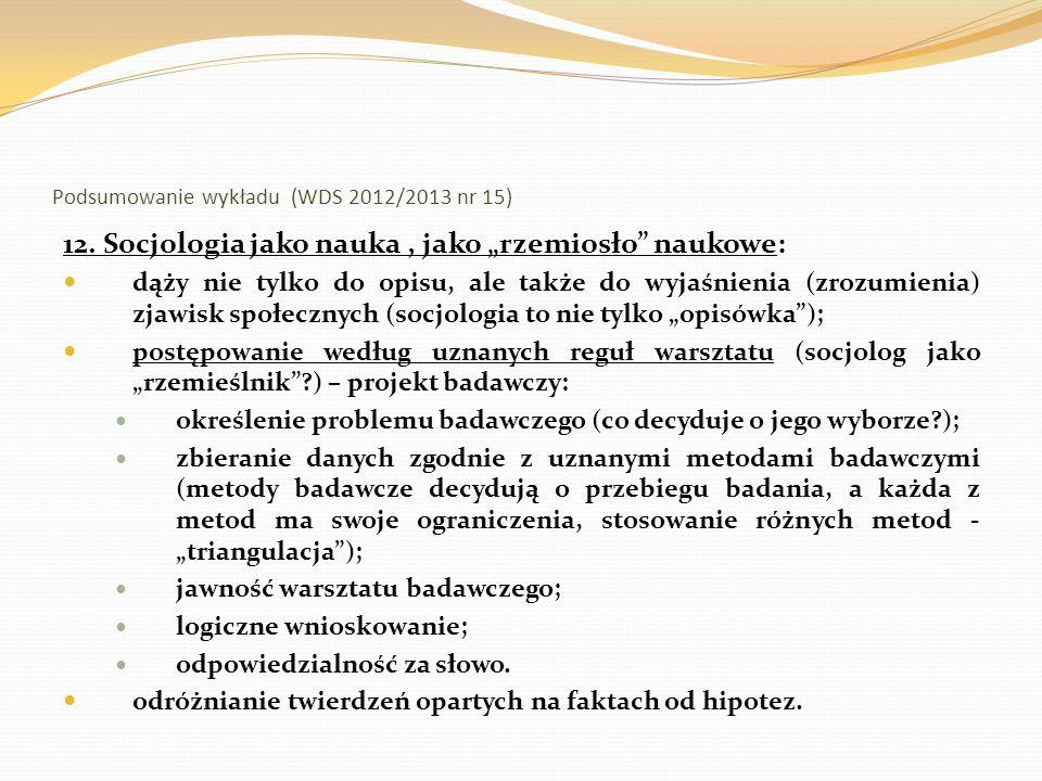 Podsumowanie wykładu (WDS 2012/2013 nr 15) 13.
