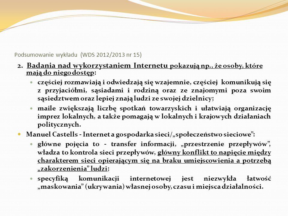 Podsumowanie wykładu (WDS 2012/2013 nr 15) 3.
