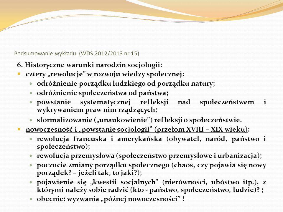 Podsumowanie wykładu (WDS 2012/2013 nr 15) 7.