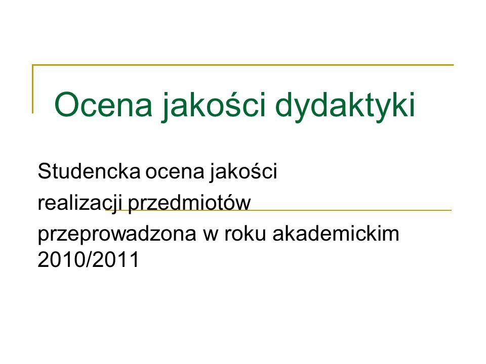 Ocena jakości dydaktyki Studencka ocena jakości realizacji przedmiotów przeprowadzona w roku akademickim 2010/2011