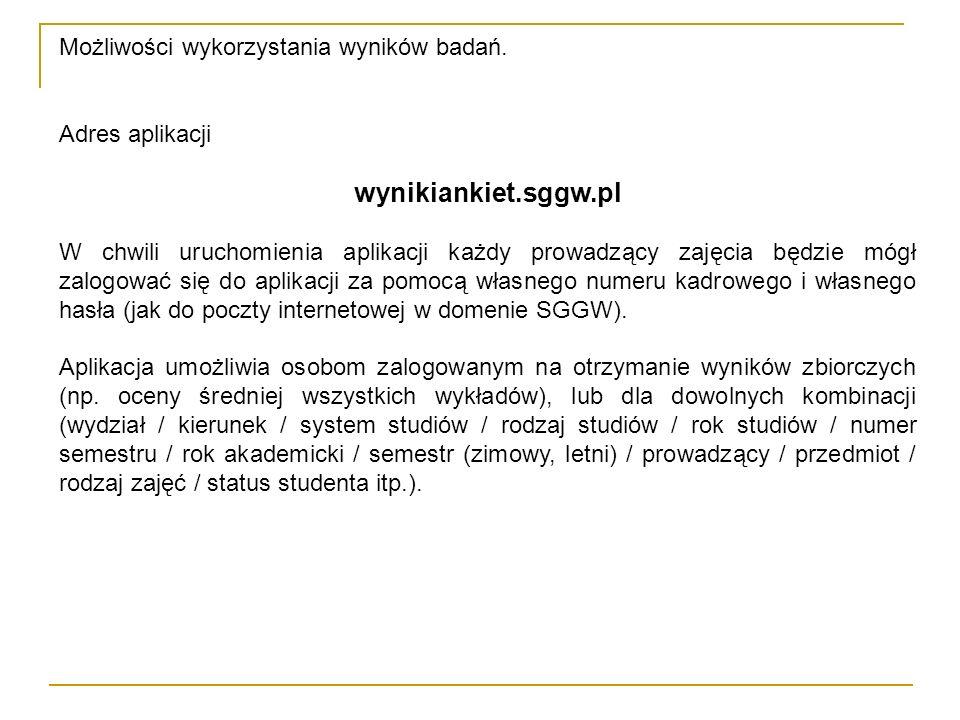 Możliwości wykorzystania wyników badań. Adres aplikacji wynikiankiet.sggw.pl W chwili uruchomienia aplikacji każdy prowadzący zajęcia będzie mógł zalo