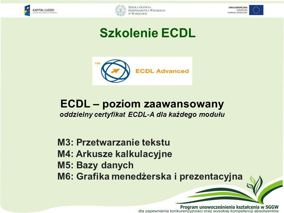 ECDL – poziom zaawansowany oddzielny certyfikat ECDL-A dla każdego modułu M3: Przetwarzanie tekstu M4: Arkusze kalkulacyjne M5: Bazy danych M6: Grafik