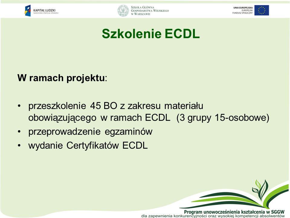 Szkolenie ECDL W ramach projektu: przeszkolenie 45 BO z zakresu materiału obowiązującego w ramach ECDL (3 grupy 15-osobowe) przeprowadzenie egzaminów