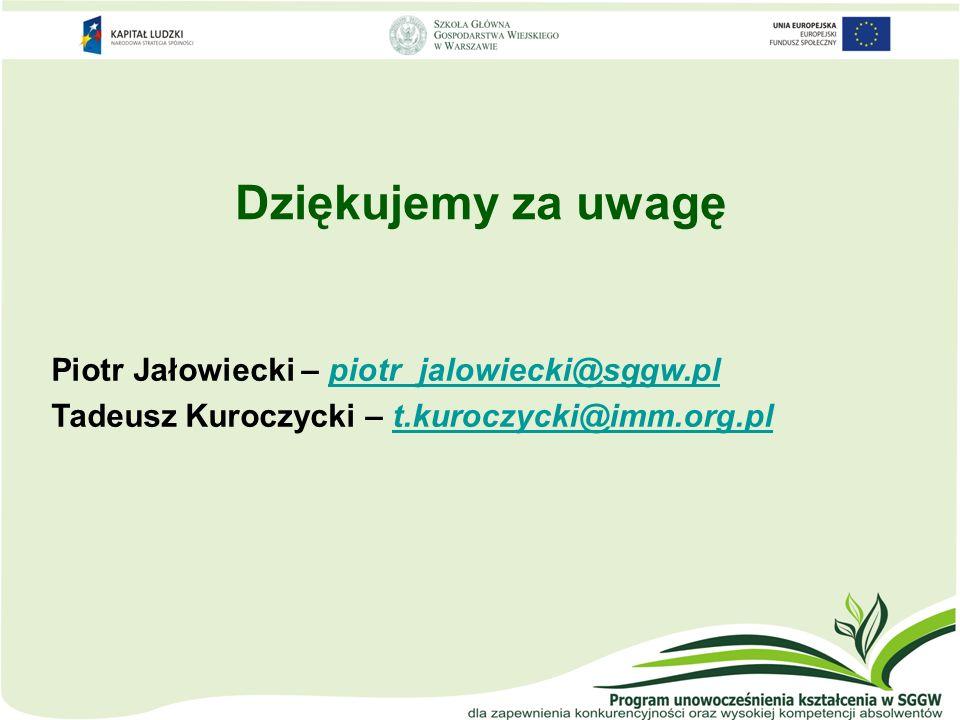 Dziękujemy za uwagę Piotr Jałowiecki – piotr_jalowiecki@sggw.plpiotr_jalowiecki@sggw.pl Tadeusz Kuroczycki – t.kuroczycki@imm.org.plt.kuroczycki@imm.o