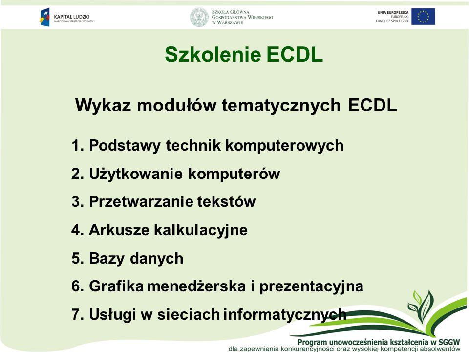 Szkolenie ECDL Wykaz modułów tematycznych ECDL 1.Podstawy technik komputerowych 2.Użytkowanie komputerów 3.Przetwarzanie tekstów 4.Arkusze kalkulacyjn