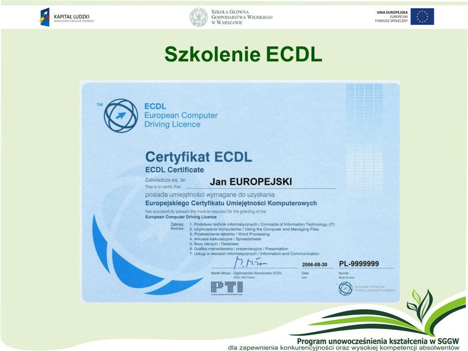ECDL – poziom zaawansowany oddzielny certyfikat ECDL-A dla każdego modułu M3: Przetwarzanie tekstu M4: Arkusze kalkulacyjne M5: Bazy danych M6: Grafika menedżerska i prezentacyjna