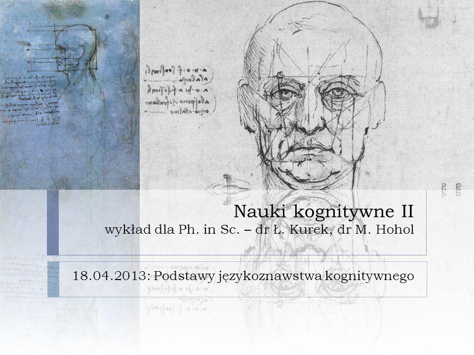 Nauki kognitywne II wykład dla Ph.in Sc. – dr Ł. Kurek, dr M.