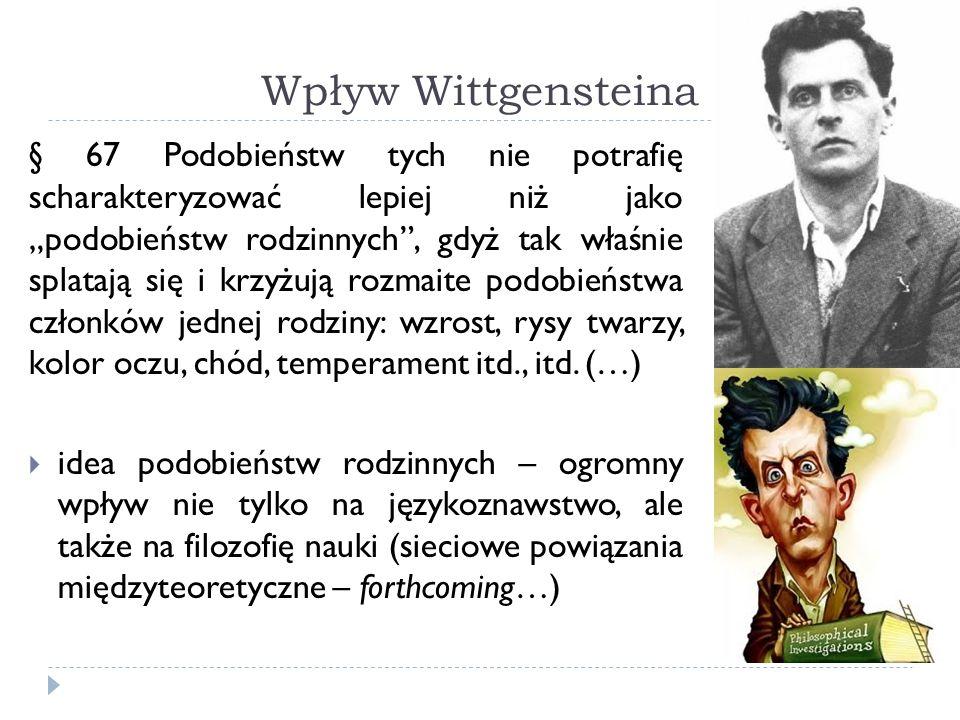 Wpływ Wittgensteina § 67 Podobieństw tych nie potrafię scharakteryzować lepiej niż jako podobieństw rodzinnych, gdyż tak właśnie splatają się i krzyżują rozmaite podobieństwa członków jednej rodziny: wzrost, rysy twarzy, kolor oczu, chód, temperament itd., itd.