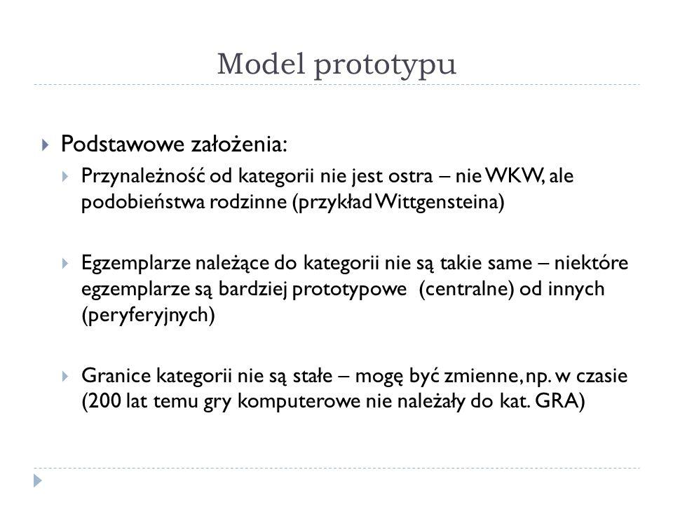 Model prototypu Podstawowe założenia: Przynależność od kategorii nie jest ostra – nie WKW, ale podobieństwa rodzinne (przykład Wittgensteina) Egzemplarze należące do kategorii nie są takie same – niektóre egzemplarze są bardziej prototypowe (centralne) od innych (peryferyjnych) Granice kategorii nie są stałe – mogę być zmienne, np.