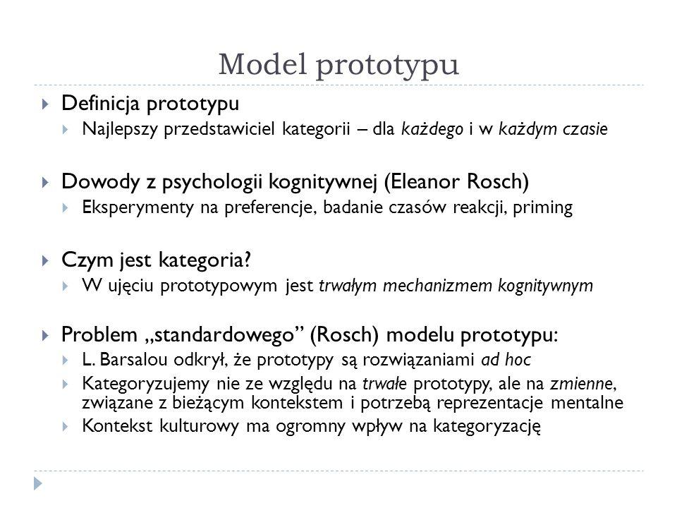 Model prototypu Definicja prototypu Najlepszy przedstawiciel kategorii – dla każdego i w każdym czasie Dowody z psychologii kognitywnej (Eleanor Rosch) Eksperymenty na preferencje, badanie czasów reakcji, priming Czym jest kategoria.