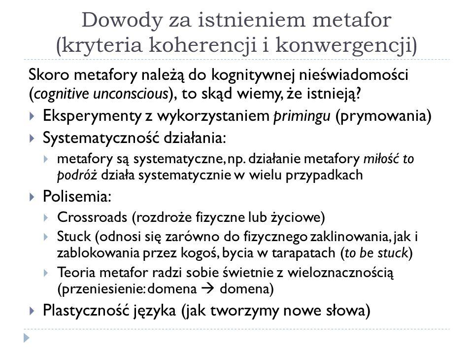 Dowody za istnieniem metafor (kryteria koherencji i konwergencji) Skoro metafory należą do kognitywnej nieświadomości (cognitive unconscious), to skąd wiemy, że istnieją.