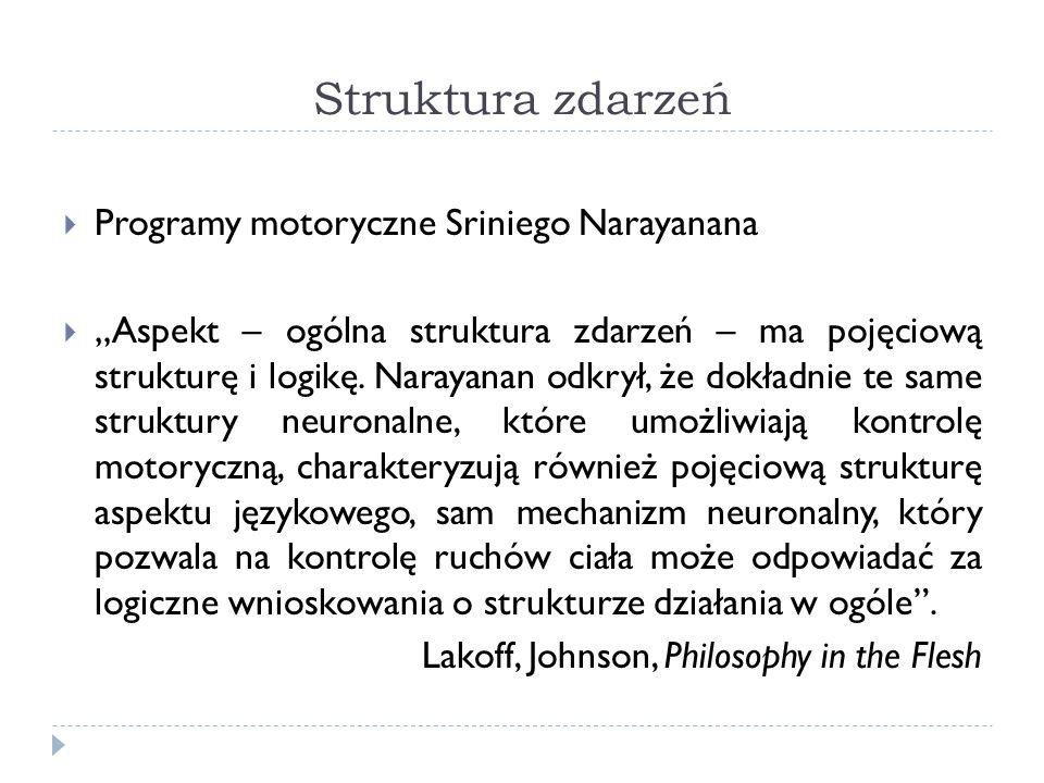 Struktura zdarzeń Programy motoryczne Sriniego Narayanana Aspekt – ogólna struktura zdarzeń – ma pojęciową strukturę i logikę.