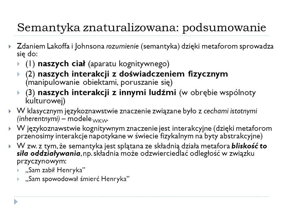 Semantyka znaturalizowana: podsumowanie Zdaniem Lakoffa i Johnsona rozumienie (semantyka) dzięki metaforom sprowadza się do: (1) naszych ciał (aparatu kognitywnego) (2) naszych interakcji z doświadczeniem fizycznym (manipulowanie obiektami, poruszanie się) (3) naszych interakcji z innymi ludźmi (w obrębie wspólnoty kulturowej) W klasycznym językoznawstwie znaczenie związane było z cechami istotnymi (inherentnymi) – modele WKW.