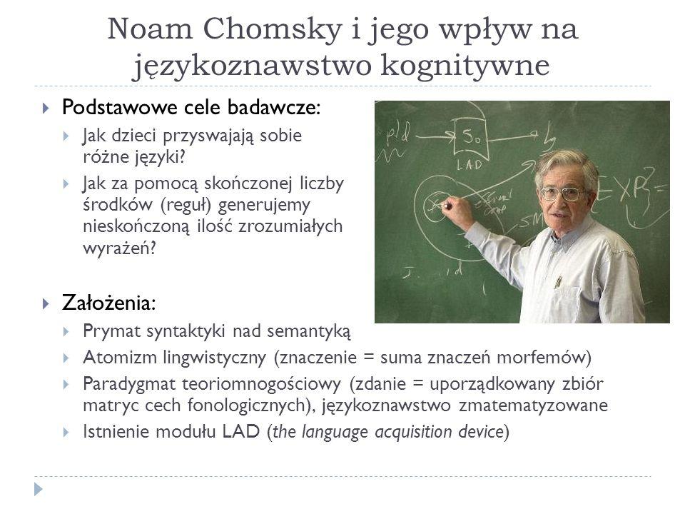 Noam Chomsky i jego wpływ na językoznawstwo kognitywne Podstawowe cele badawcze: Jak dzieci przyswajają sobie różne języki.