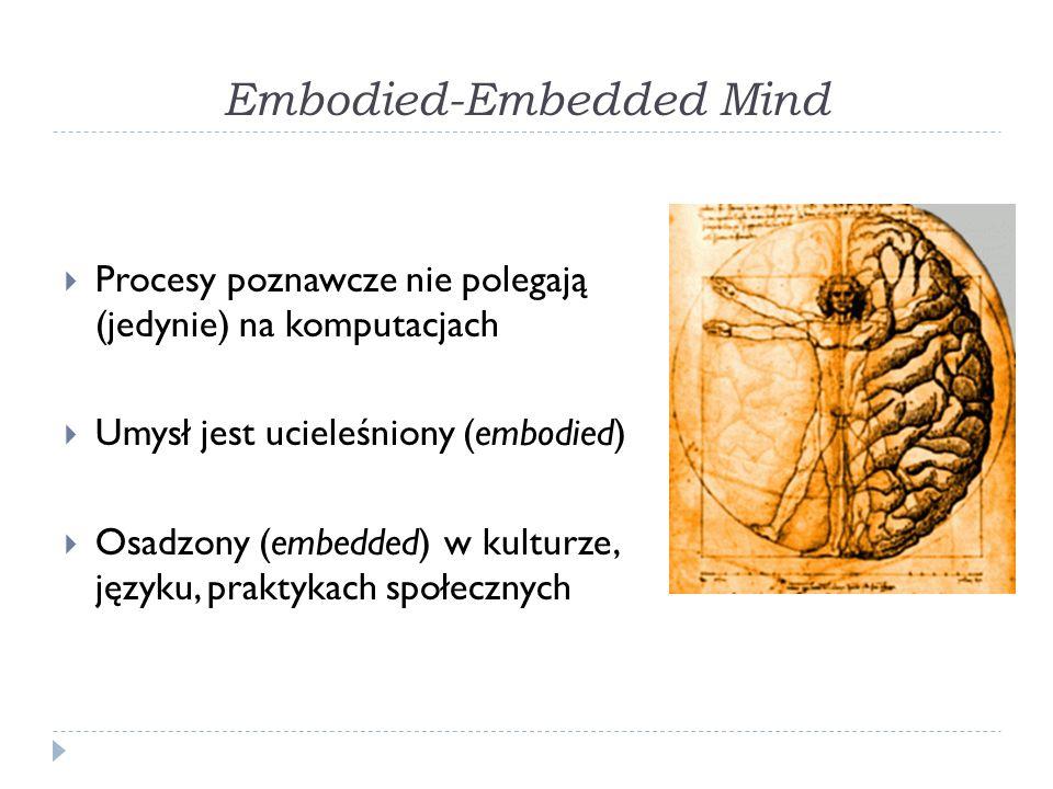 Embodied-Embedded Mind Procesy poznawcze nie polegają (jedynie) na komputacjach Umysł jest ucieleśniony (embodied) Osadzony (embedded) w kulturze, języku, praktykach społecznych
