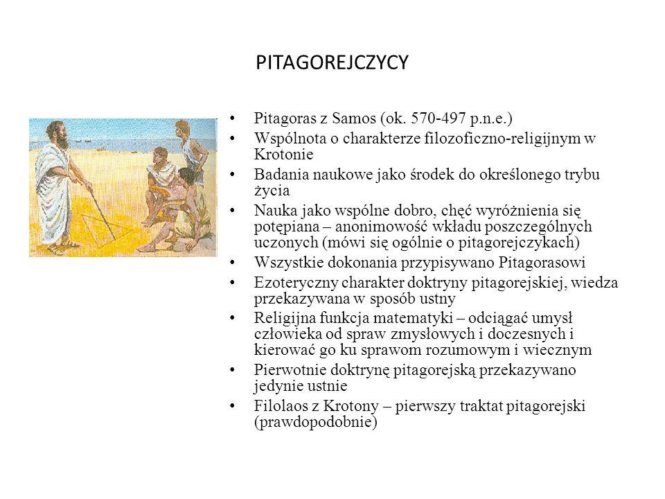 PITAGOREJCZYCY Pitagoras z Samos (ok. 570-497 p.n.e.) Wspólnota o charakterze filozoficzno-religijnym w Krotonie Badania naukowe jako środek do określ