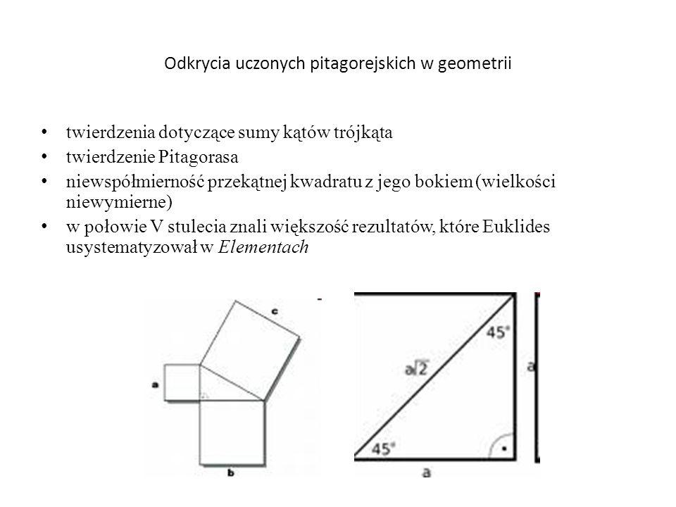 Odkrycia uczonych pitagorejskich w geometrii twierdzenia dotyczące sumy kątów trójkąta twierdzenie Pitagorasa niewspółmierność przekątnej kwadratu z j