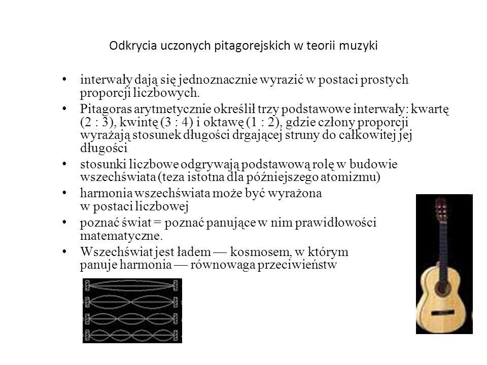 Odkrycia uczonych pitagorejskich w teorii muzyki interwały dają się jednoznacznie wyrazić w postaci prostych proporcji liczbowych. Pitagoras arytmetyc