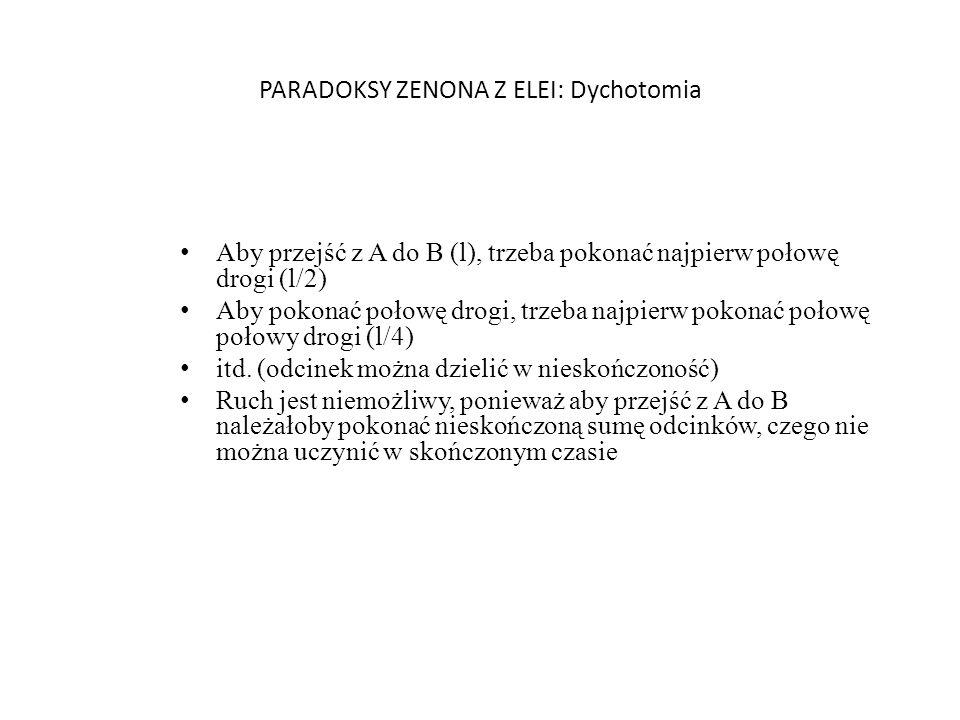 PARADOKSY ZENONA Z ELEI: Dychotomia Aby przejść z A do B (l), trzeba pokonać najpierw połowę drogi (l/2) Aby pokonać połowę drogi, trzeba najpierw pok