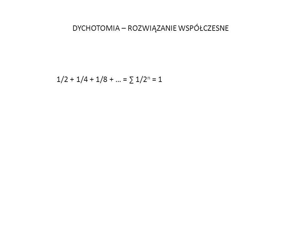 DYCHOTOMIA – ROZWIĄZANIE WSPÓŁCZESNE 1/2 + 1/4 + 1/8 + … = 1/2 n = 1