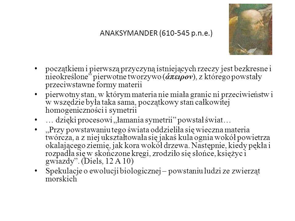 ANAKSYMANDER (610-545 p.n.e.) początkiem i pierwszą przyczyną istniejących rzeczy jest bezkresne i nieokreślone pierwotne tworzywo (άπειρον), z któreg