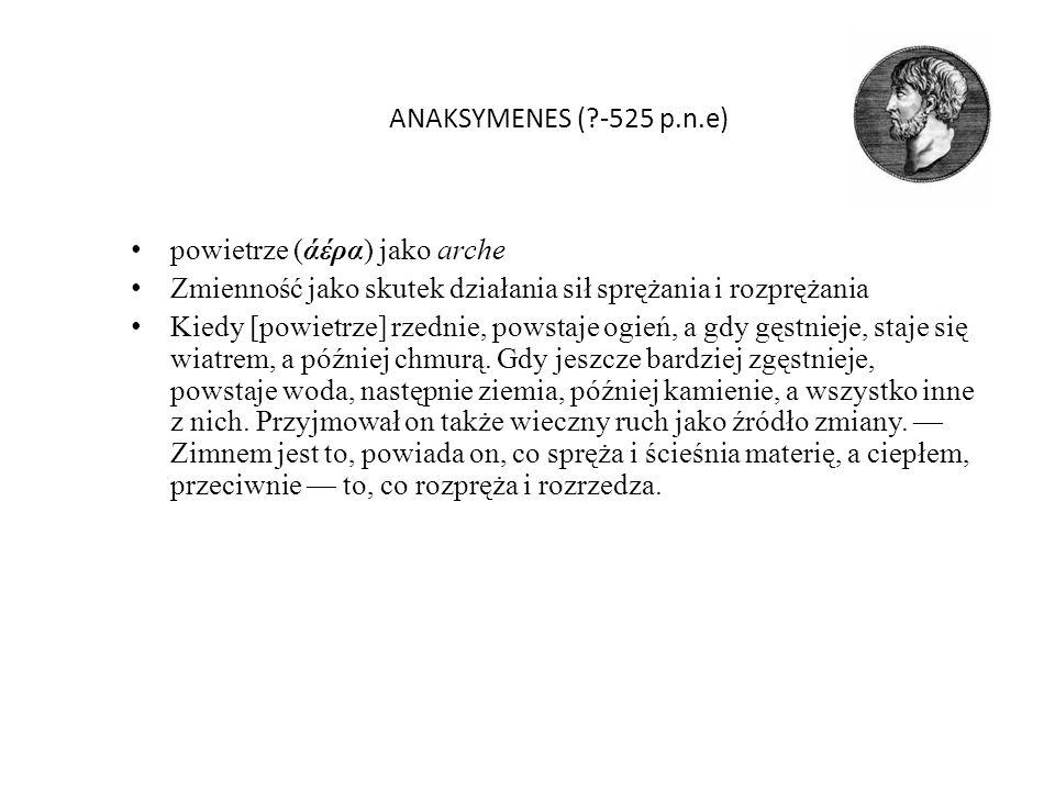 ANAKSYMENES (?-525 p.n.e) powietrze (άέρα) jako arche Zmienność jako skutek działania sił sprężania i rozprężania Kiedy [powietrze] rzednie, powstaje