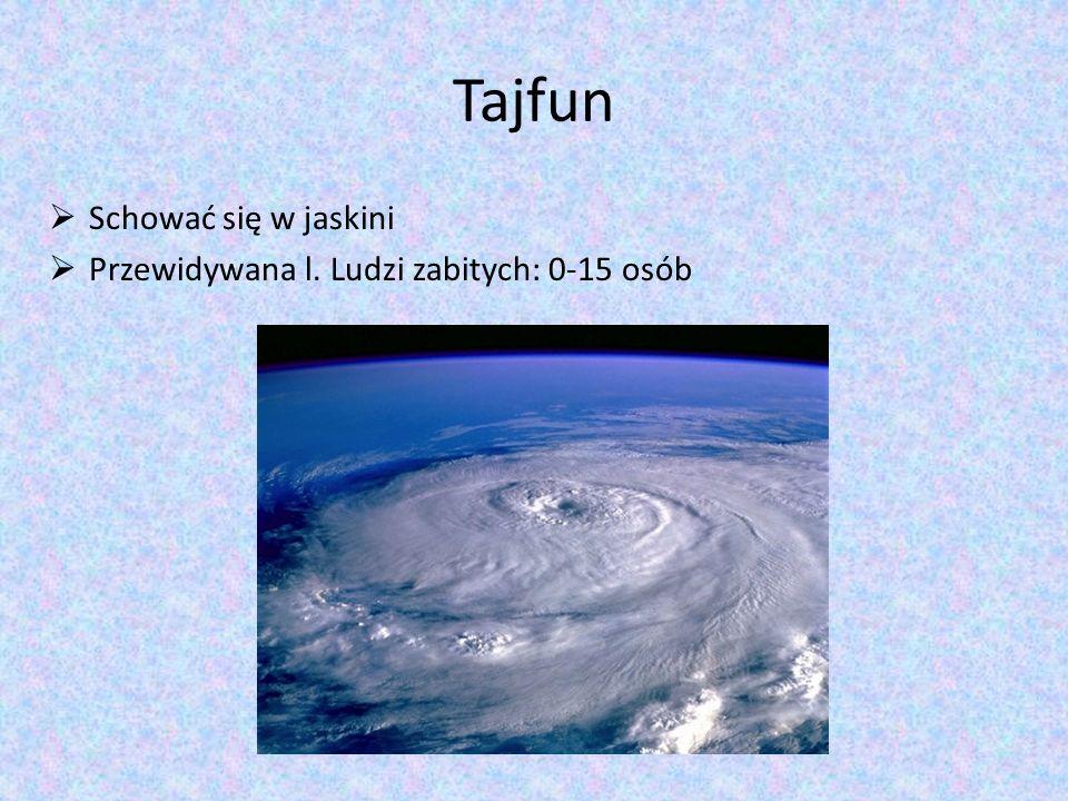 Tajfun Schować się w jaskini Przewidywana l. Ludzi zabitych: 0-15 osób