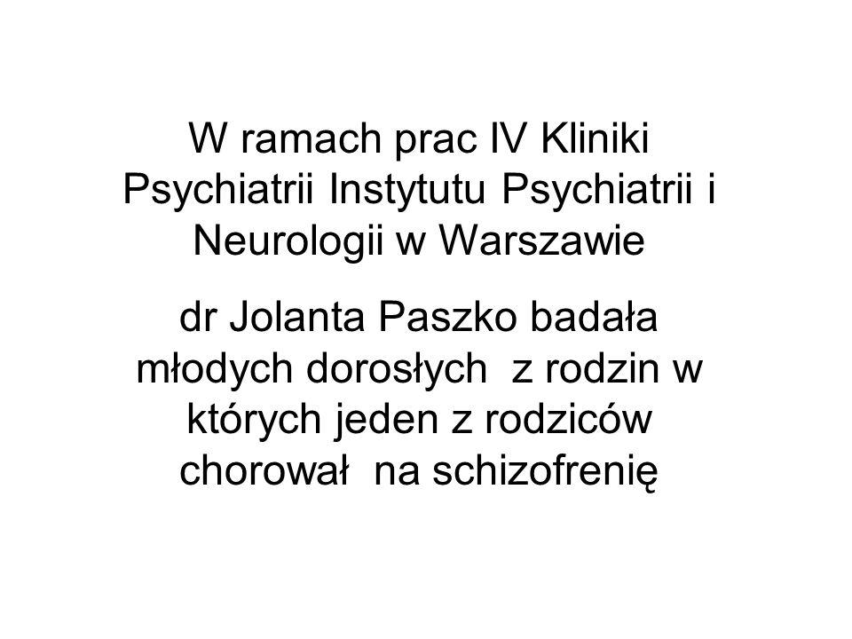 W ramach prac IV Kliniki Psychiatrii Instytutu Psychiatrii i Neurologii w Warszawie dr Jolanta Paszko badała młodych dorosłych z rodzin w których jede