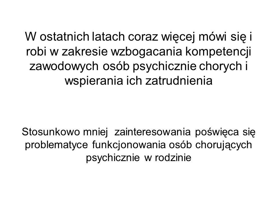 W ostatnich latach coraz więcej mówi się i robi w zakresie wzbogacania kompetencji zawodowych osób psychicznie chorych i wspierania ich zatrudnienia S