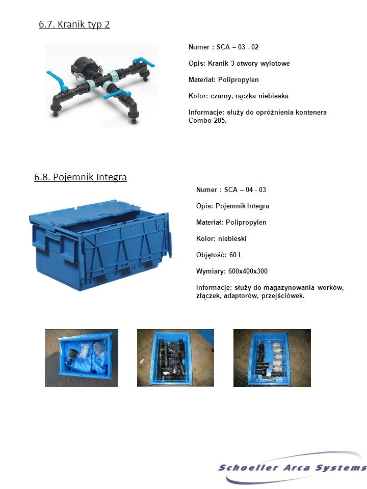 6.7. Kranik typ 2 Numer : SCA – 03 - 02 Opis: Kranik 3 otwory wylotowe Materiał: Polipropylen Kolor: czarny, rączka niebieska Informacje: służy do opr
