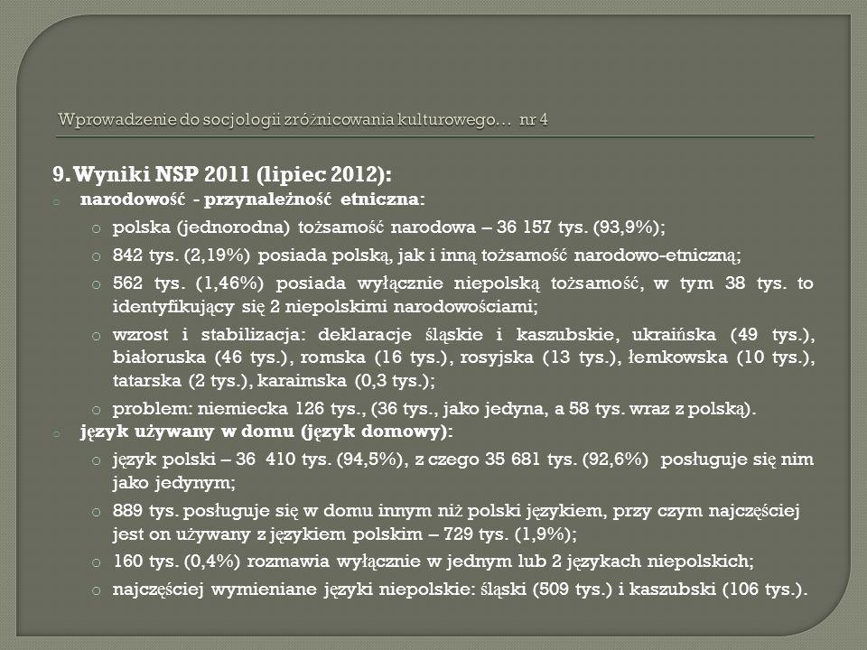 9. Wyniki NSP 2011 (lipiec 2012): o narodowo ść - przynale ż no ść etniczna: o polska (jednorodna) to ż samo ść narodowa – 36 157 tys. (93,9%); o 842