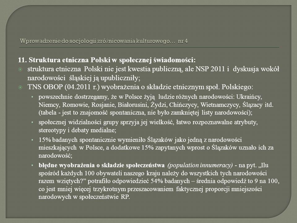 11. Struktura etniczna Polski w społecznej świadomości: struktura etniczna Polski nie jest kwestia publiczną, ale NSP 2011 i dyskusja wokół narodowośc