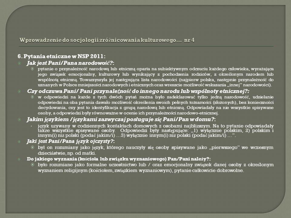 6. Pytania etniczne w NSP 2011: Jak jest Pani/Pana narodowość?: pytanie o przynale ż no ść narodow ą lub etniczn ą oparta na subiektywnym odczuciu ka