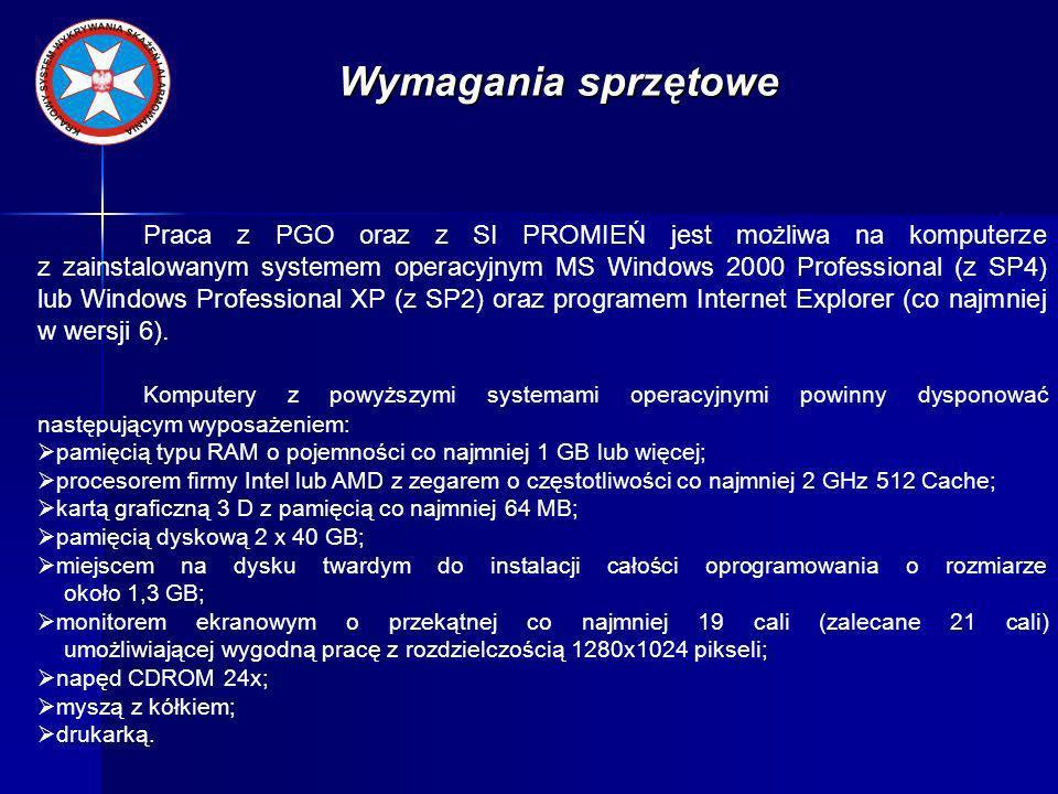 Konfiguracja SI PROMIEŃ Konfiguracja bazy danych o wojskach wpisać hasło administratora systemu.